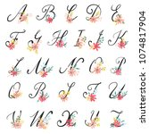 beautiful floral letters in... | Shutterstock .eps vector #1074817904