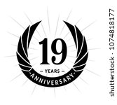 19 years anniversary. elegant... | Shutterstock .eps vector #1074818177