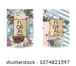 floral background. cover with... | Shutterstock .eps vector #1074821597