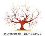 huge tree with large trunk ... | Shutterstock .eps vector #1074833429