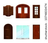 entrance doors set of realistic ... | Shutterstock .eps vector #1074833474