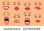 women cute mouth lips eyes... | Shutterstock .eps vector #1074833489