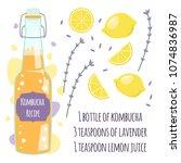 recipe kombucha detox cocktail... | Shutterstock .eps vector #1074836987