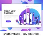 landing page template of boost... | Shutterstock .eps vector #1074838901