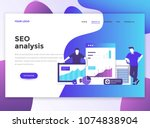 landing page template of seo... | Shutterstock .eps vector #1074838904
