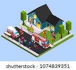 rescue team isometric...   Shutterstock .eps vector #1074839351