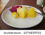 slices of dragon fruit and... | Shutterstock . vector #1074839531