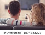 happy young couple relaxing and ... | Shutterstock . vector #1074853229