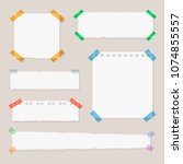 vector torn edges paper sheets  ... | Shutterstock .eps vector #1074855557