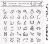 baby icons set. outline symbols ... | Shutterstock .eps vector #1074856247