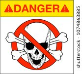 vector skull danger sign | Shutterstock .eps vector #1074863885