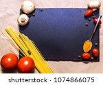 italian food on black... | Shutterstock . vector #1074866075