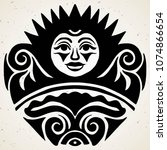 tribal tattoo with the sun.... | Shutterstock .eps vector #1074866654