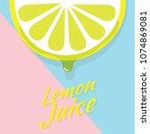 piece of half lemon slice ... | Shutterstock .eps vector #1074869081