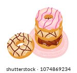 bright appetizing donuts with... | Shutterstock .eps vector #1074869234