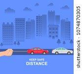the hand constraining car speed ... | Shutterstock .eps vector #1074870305