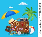 vintage old travel suitcase.... | Shutterstock . vector #1074873974