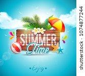 vector summer time holiday...   Shutterstock .eps vector #1074877244