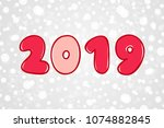 happy new year 2019 red and... | Shutterstock .eps vector #1074882845