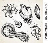 handsketched set of beautiful... | Shutterstock .eps vector #1074889271