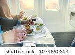 tray with delicious food on the ... | Shutterstock . vector #1074890354