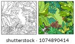 wild jungle with parrots of the ... | Shutterstock .eps vector #1074890414
