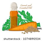 bottle with essential oil... | Shutterstock .eps vector #1074890534