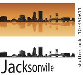 Jacksonville Skyline In Orange...