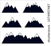 mountain silhouettes with snowy ...   Shutterstock .eps vector #1074907487
