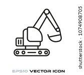 excavator flat line icon vector | Shutterstock .eps vector #1074908705