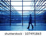 people silhouette in hall of... | Shutterstock . vector #107491865