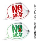 No meat stickers set in form of speech bubbles. - stock vector