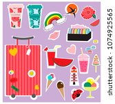 stickers summer and travel... | Shutterstock .eps vector #1074925565