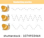 handwriting practice sheet.... | Shutterstock .eps vector #1074933464