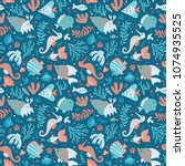 semless sea pattern with fishes ... | Shutterstock .eps vector #1074935525