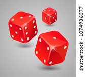 three red game dices. casino... | Shutterstock .eps vector #1074936377