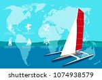 yacht club banner design with... | Shutterstock .eps vector #1074938579