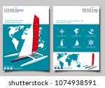 yacht club flyers design with... | Shutterstock .eps vector #1074938591