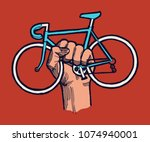 bicycle protest sign   hand... | Shutterstock .eps vector #1074940001