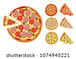 traditional pizza elements.... | Shutterstock .eps vector #1074945221