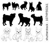 bulldog silhouette  dog  ... | Shutterstock .eps vector #1074950261