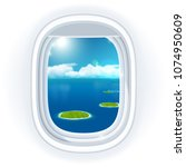 realistic aircraft porthole... | Shutterstock . vector #1074950609