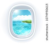 realistic aircraft porthole... | Shutterstock . vector #1074950615