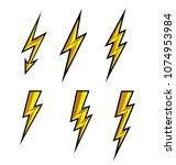lightning thunderbolt icon... | Shutterstock .eps vector #1074953984