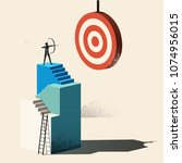 business target   aim high. a... | Shutterstock .eps vector #1074956015