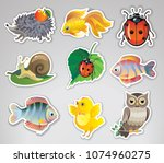 set of vector stickers with... | Shutterstock .eps vector #1074960275