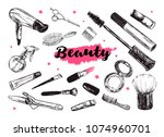 cosmetics and beauty background ... | Shutterstock . vector #1074960701