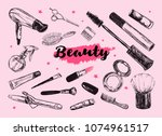 cosmetics and beauty background ... | Shutterstock . vector #1074961517