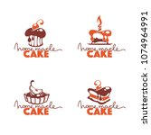 home made cake  bakery  pastry  ... | Shutterstock .eps vector #1074964991