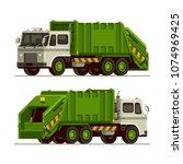 garbage truck waste vehicle...   Shutterstock .eps vector #1074969425